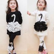 Одежда детская New Children Clothes sets Swan Decor Long Sleeve T shirt 2 Pcs One Set + Long Pants Children Kids Girls&#39- Suit Free Shipping, код 1101945458 фото