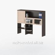 Надстройка для стола СОЛО-007 Корпус венге, фасад дуб молочный/стекло фото