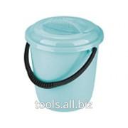 Ведро пластмассовое круглое 12 литров, с крышкой, бирюзовое
