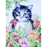 Картина Кот в цветах фото