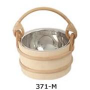 Деревянная кадка со стальной вставкой 7 литров, ручка ротанговой пальмы фото