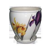 Горшок для цветов керамический Бутон Белый Ирис фото