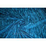 Бархат-стрейч мраморный, крэш, бирюзовый фото