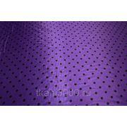 Атлас принт фиолетовый в черный горох