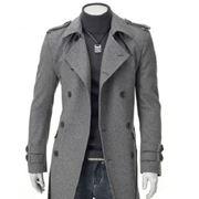 Пальто мужское с поясом в 2 цветах сером и черном фото