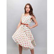 Платье женское летнее шифоновое в горошек фото