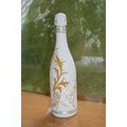 Декорирование стеклянной бутылки фото