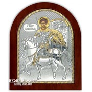 Святой Дмитрий Солунский - Икона Арочной Формы С Серебром И Позолотой Код товара: ОGOLD фото