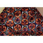 Ткань искусственный бархат с узбекским орнаментом (дакрон) оранж, отрез 5м фото