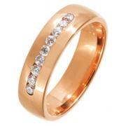 Кольцо обручальное золотое с бриллиантами фото