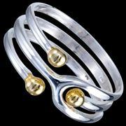Серебряное кольцо 3 шарика позолота фото