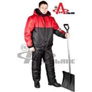 Зимний костюм Сапфир с брюками, чёрный с красным фото