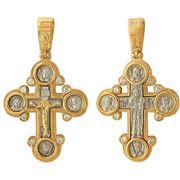 Крест из комбинации белого и красного золота 585 пробы фото