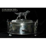 Серебряная шкатулка с охотничьей собакой утками и бобрами фото