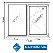 """Окна """"VEKA Euroline 58"""" (двухстворчатое 1300""""1400) фото"""