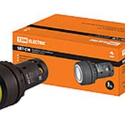 Кнопка SB7-CW3561-220V(LED) d22мм 1з, желтая TDM фото