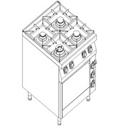 Плита газовая 4-х конфорочная с электрической духовкой на GN 2/1 Kogast - KS-T49-1 фото