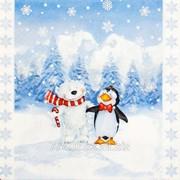 Салфетка для декупажа Мишка и пингвин фото