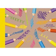 Альбом для рисования 40л А4,склейка,крафт+выб.лак Штрихи и краски АЛ401687 фото