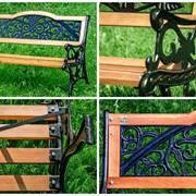 Скамейка со спинкой из дерева фото