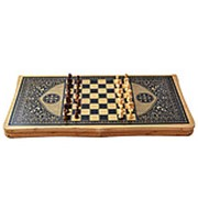 Сувенирный и игровой набор 3 в 1 Шашки-Шахматы-Нарды в восточном стиле, бамбук 48х48 фото