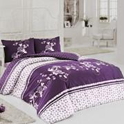 Комплект постельного белья Alya Сливово-фиалковый, сатин, 100% хлопок, сем фото