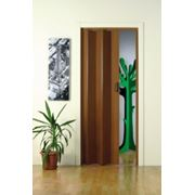 Межкомнатная дверь гармошка Моника. Цвет темный орех. фото
