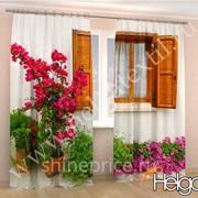 Окно с цветами арт.ТФА3323 v4 (145х275-2шт) фотошторы (штора Сатен ТФА) фото