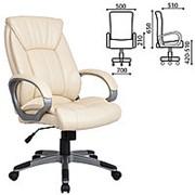 """Кресло для руководителя Brabix """"Strike EX-525"""", экокожа черная/синяя, ткань серая, TW фото"""