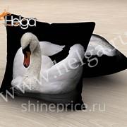 Лебедь арт.ТФП3720 (45х45-1шт) фотоподушка (подушка Габардин ТФП)