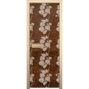 Дверь Арт серия с рисунком ГлассДжет Белые листья фото