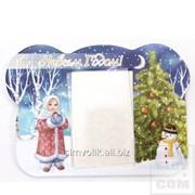 Новогодняя фоторамка на магните Девочка, снеговик, С новым годом! Артикул: РК-052