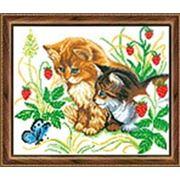 Набор для вышивания бисером ИС-029 Котята и бабочка фото