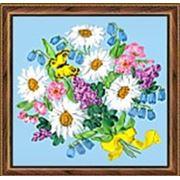 Набор для вышивания лентами Ис-л-9 25*25см Букет с ромашками фото