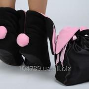 Черный мешочек с розовыми лентами фото