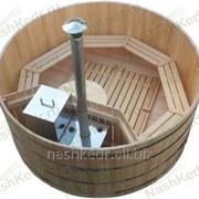 Фурако круглая - кедровый бассейн с внешней печью (120*d250*4 см) фото