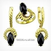 Кольцо и серьги с ониксом. Золото 585. арт. 2107 фото