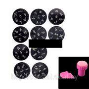 Набор из 10 дисков-трафаретов для художественной росписи ногтей (стемпинга) + скребок и штамп