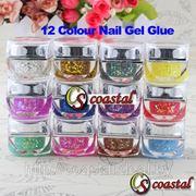 Цветные УФ гели с блестками для дизайна ногтей № 2 фото