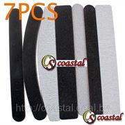 Набор из 7 черно-белых шлифовальных пилочек для ногтей фото