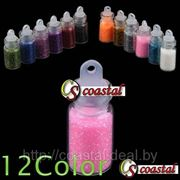 Акриловая пудра 12 цветных баночек (глиттер) - блестки 3D Glitters фото