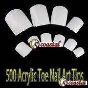 Типсы для наращивания ногтей белые 500 шт. фото