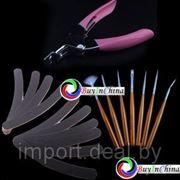 Набор из 7 кисточек, 10 пилочек и клипера для Nail Art фото