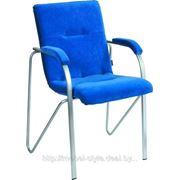 Офисный стул САМБА хром для конференц - залов засиданий, (SAMBA Chrome ткань серая) фото