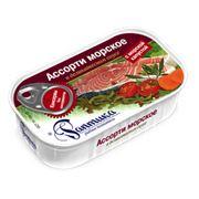 Консервы Ассорти морское в деликатесном соусе с морской капустой фото