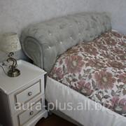 Кровать с мягким изголовьем Aura plus Изголовье из ткани, втяжки - камни Swarovski фото