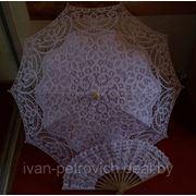 Свадебный зонтик и веер розовый фото