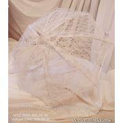 Кружевной Свадебный зонт. Кружевная ручка. фото