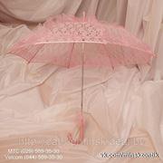 Розовый Кружевной Свадебный зонт. Кружевная ручка. фото