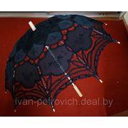 Свадебный зонтик черный фото